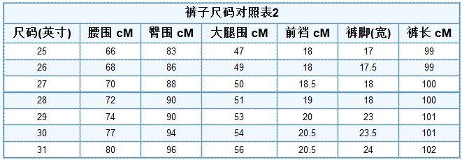 裤子尺码对照表(图)