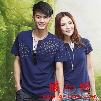 2012新款热卖情侣装夏装 蓝天麦子季韩版大码V领短袖T恤衫