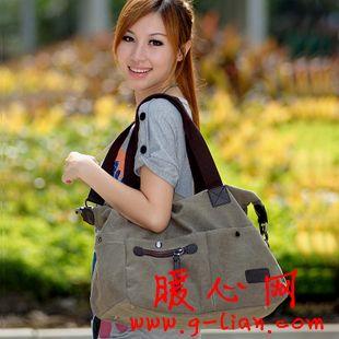 新款韩版时尚女包 单肩斜挎复古帆布包包