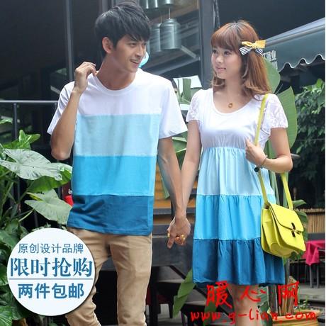 情侣装夏装2012新款 纯棉条纹圆领短袖T恤