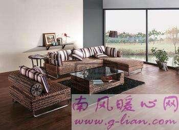 藤制沙发简单练就而成的田园风格